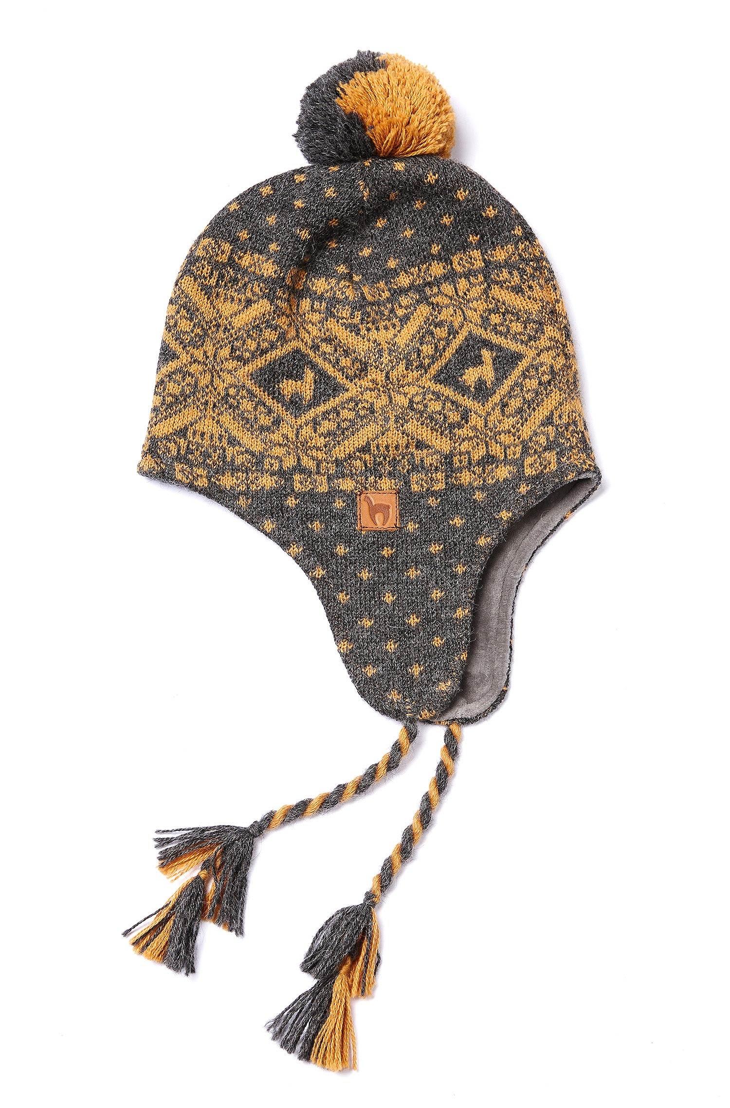 Anden Roca hue til børn - Bring lidt magik fra de peruvianske egne i Andesbjergene hjem til dig. En lækker jacquard strikket hue i Anden Roca serien fra Apu Kuntur i en flot grå farve med gult mønster der kombinerer Peru og den nordiske stil. Denne flotte alpaka/alpaca uld hue har